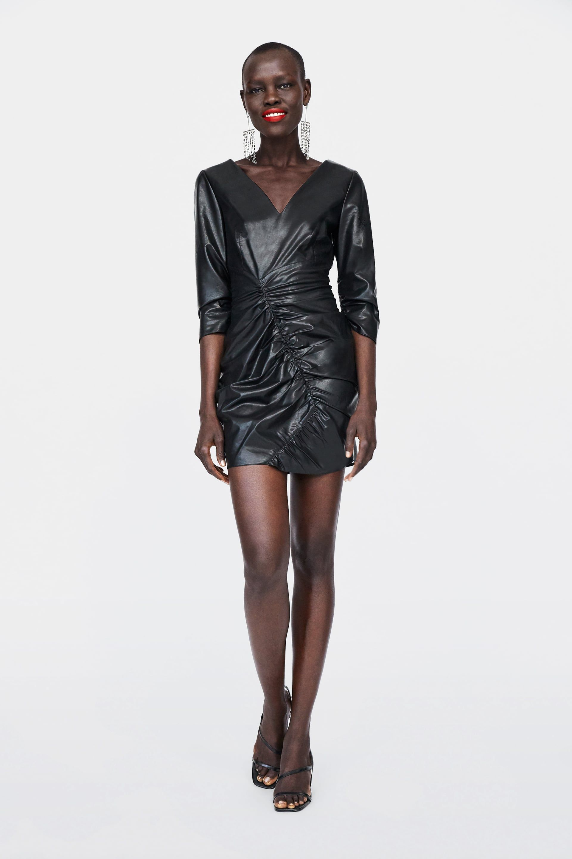 e0221459 Image 1 of FAUX LEATHER DRAPED DRESS from Zara Draped Dress, Love To Shop,
