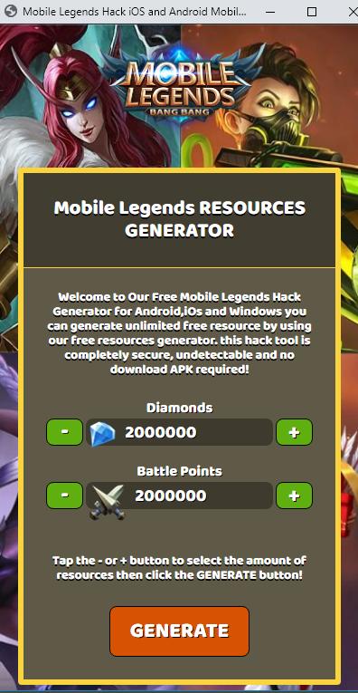 APK Download Mobile Legends Hack Tool Get 9000000 Free