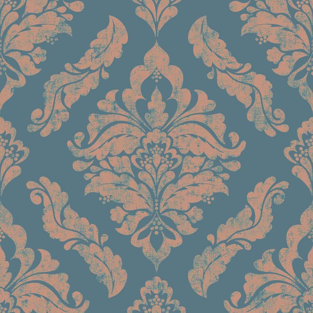 Behangrollen Classic Silks 3 Damask Aqua Gold Wallpaper Free