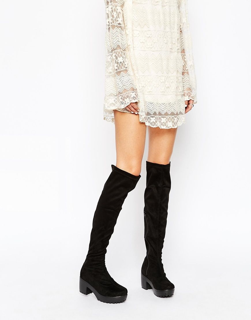 Daisy Street Black Chunky Heeled Over The Knee Boots | Over the