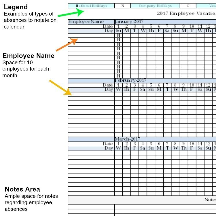 Employee Vacation Absence Tracking Calendar Spreadsheet