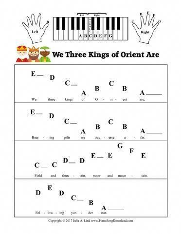 We Three Kings of Orient Are: Pre-Staff with letters Christmas sheet music for beginning piano students. #learnpianokeys #pianomusic