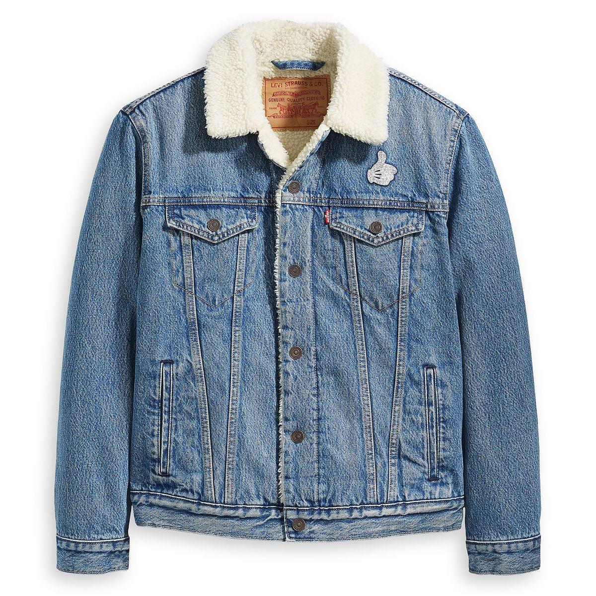 Mickey Mouse Faux Fur Denim Jacket For Men By Levi S Denim Jacket With Fur Fur Lined Denim Jacket Fur Jacket Mens [ 1200 x 1200 Pixel ]
