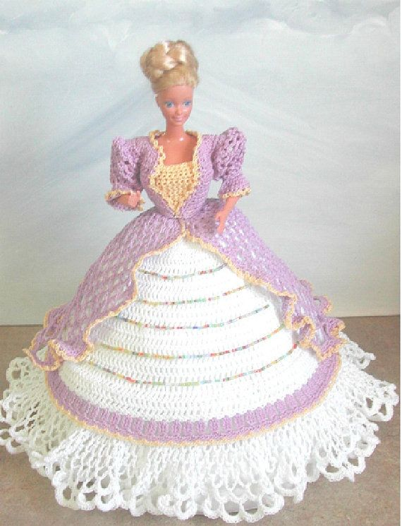 Crochet Fashion Doll Barbie Pattern- #496 LOVELY IN LILAC ...