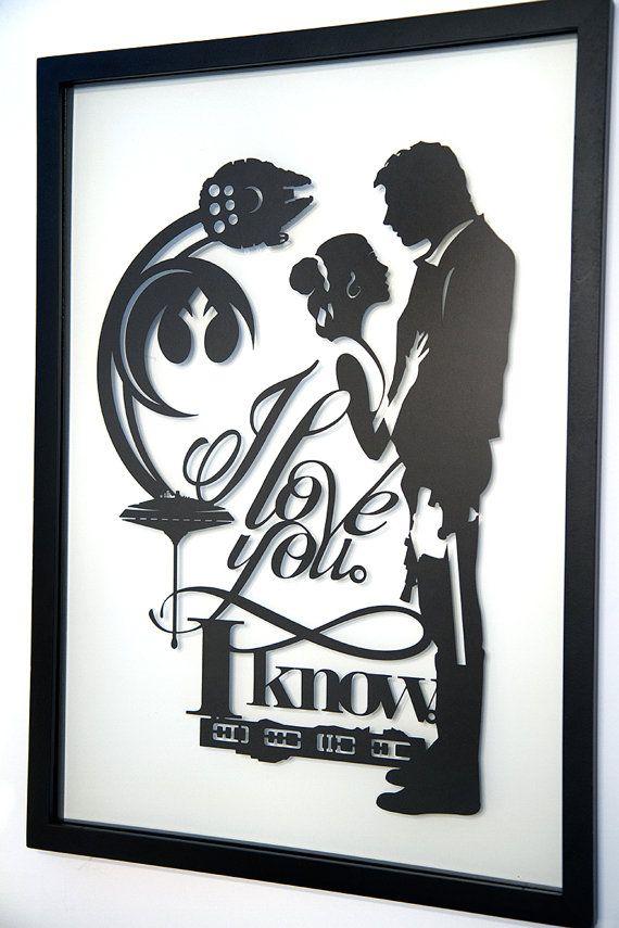 Framed I Love You I Know Star Wars Art Han Solo Princess