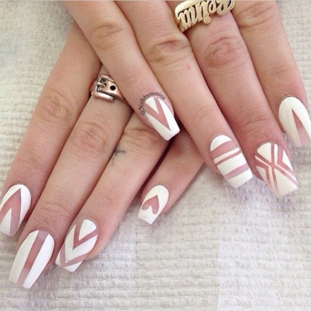 Cute white nail design with coffin shape! Acrylic nails ...