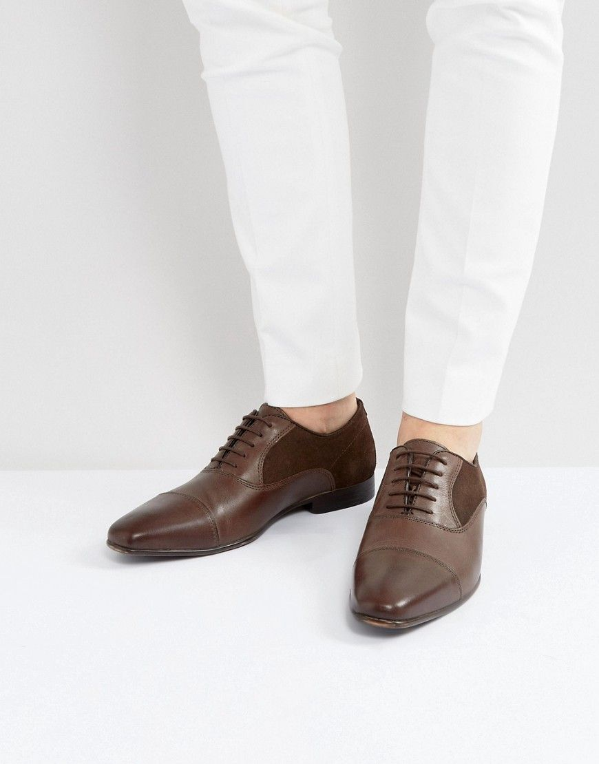 ASOS Oxford Shoes In Brown Leather With Suede Panel Detail  Brown