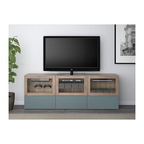 BESTÅ Meuble télé à portes et tiroirs - effet noyer teinté gris