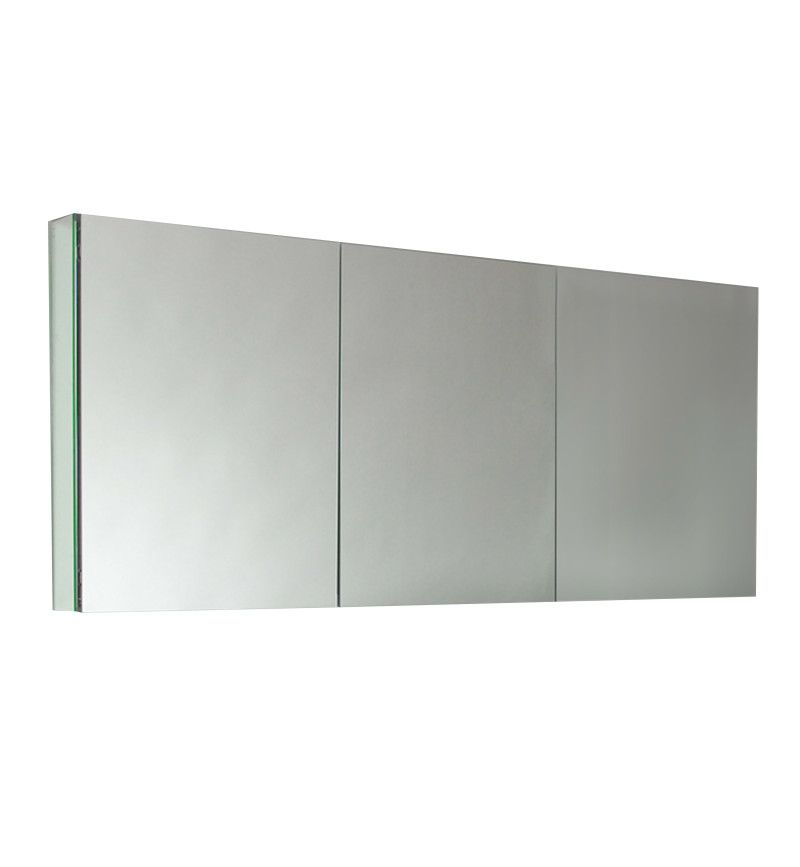 "Fresca FMC8019 Mirror 60"" Triple Door Frameless Medicine Cabinet with Four Glass Shelves and Recessed Mounting Option"
