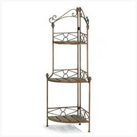 Furniture Creations Rustic Corner Kitchen Bakers Rack Plant Stand Display