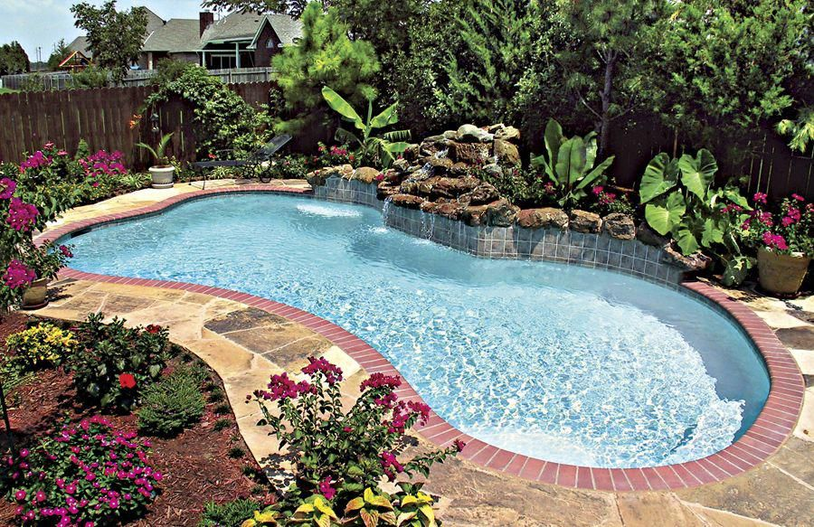 Freeform-pool-with-tanning-ledge-ledge-loungers-rock ... |Small Freeform Pools With Waterfalls