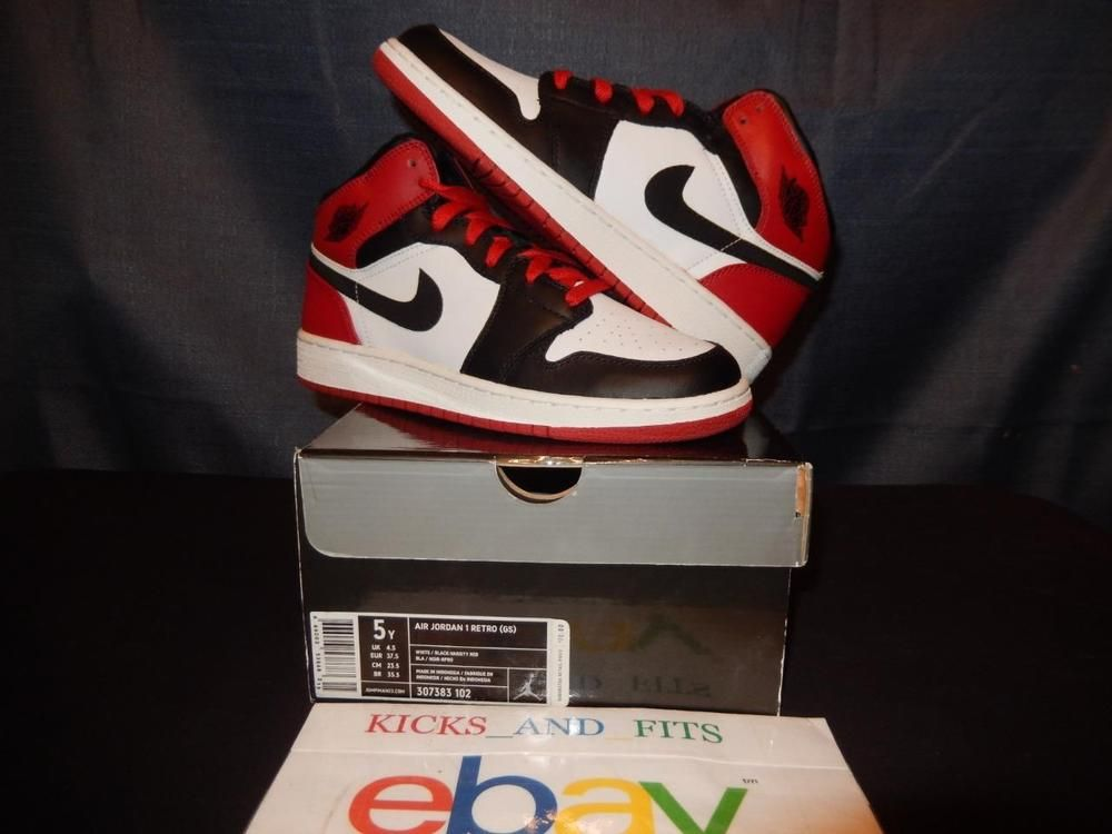 3a74cde733ca VTG OG 2007 Nike Air Jordan 1 Retro Black Toe Bred sz 5 DS 307383-102 red  white…