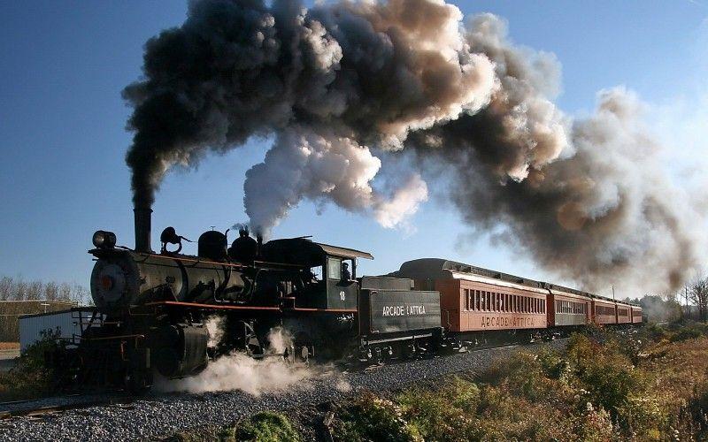 Ferrocarril, tren, vehículo, locomotora de vapor, humo, árboles, plantas, Estado de Nueva York, EE.UU., Hombres, Rail Yard fondo de pantalla