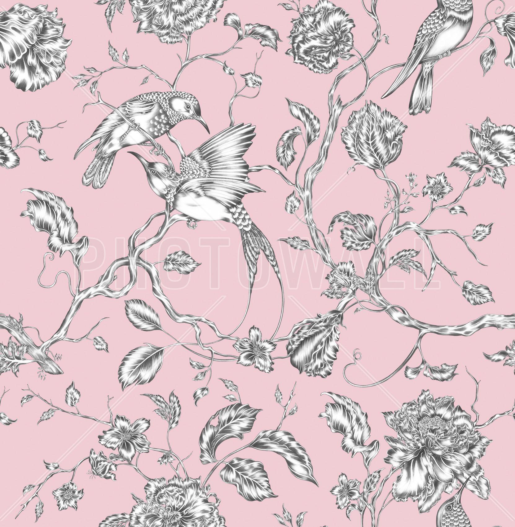 Papier Peint Petit Salon hummingbird pink - wall mural & photo wallpaper - photowall