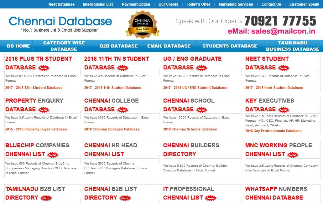 We are the leading database providers in Chennai, India  We