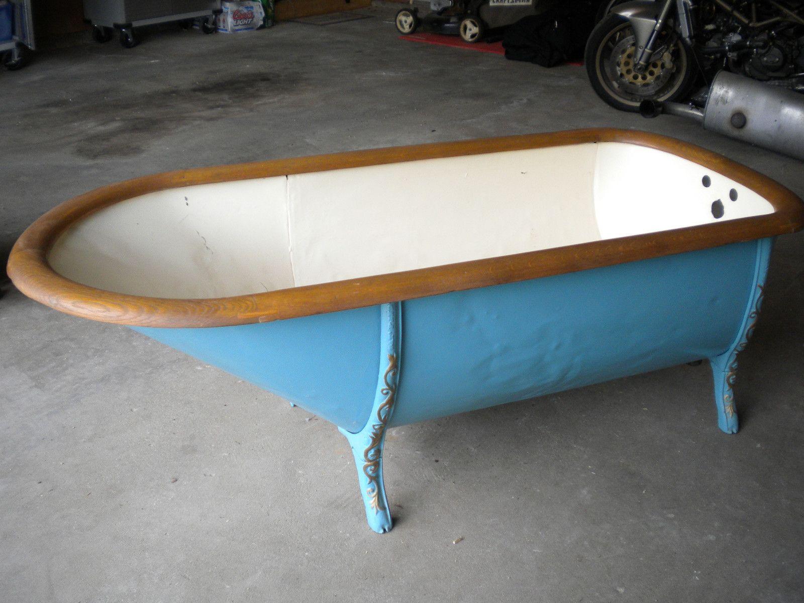 Antique bath tub cowboy bathtub tin wood rim steel clad circa late ...