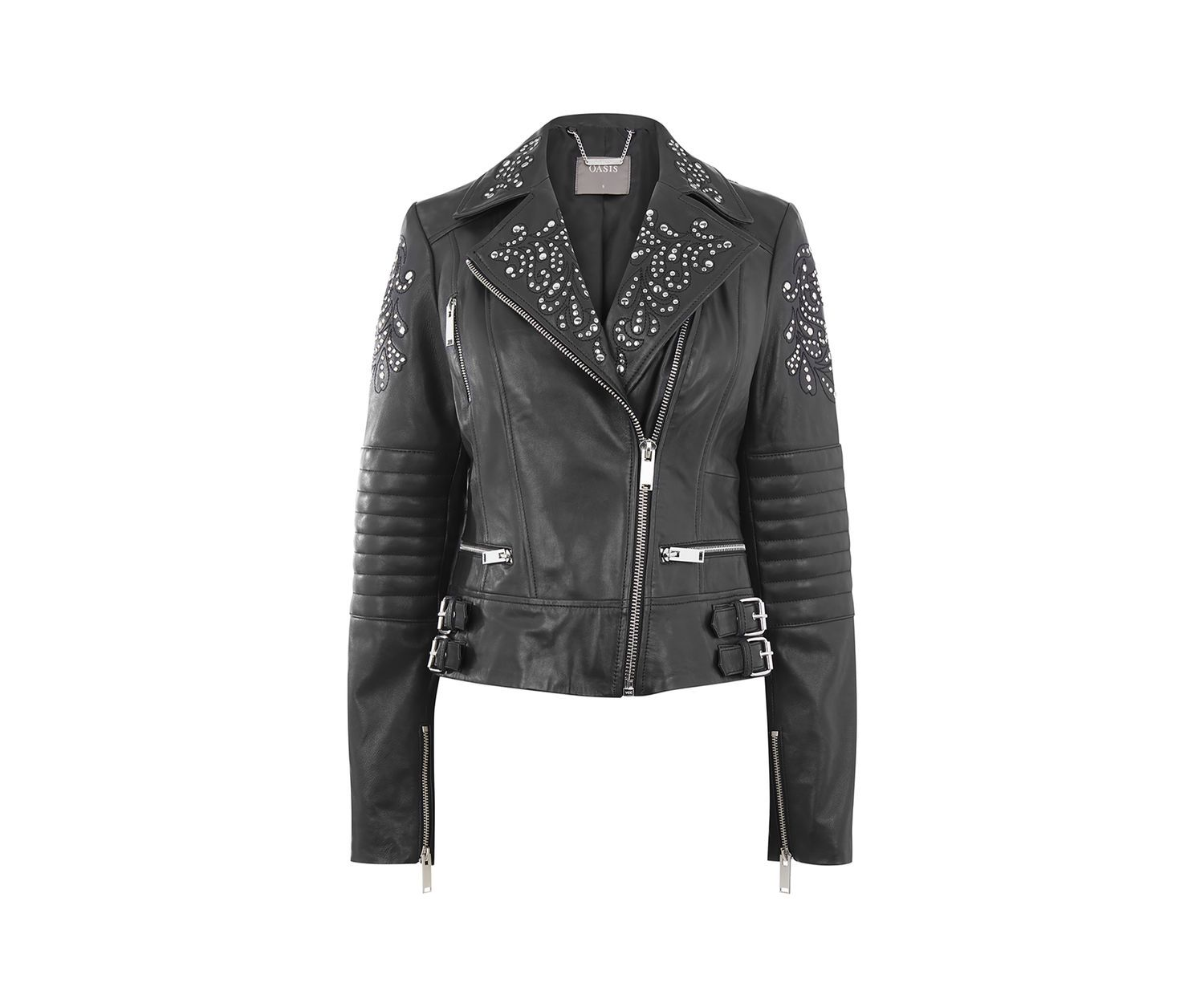 Womens Black Studded Soft Real Leather Jacket