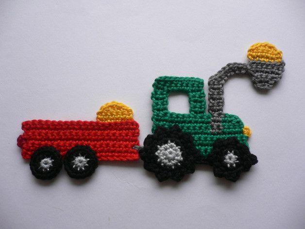 Traktor mit frontlader häkelapplikation crochet crochet