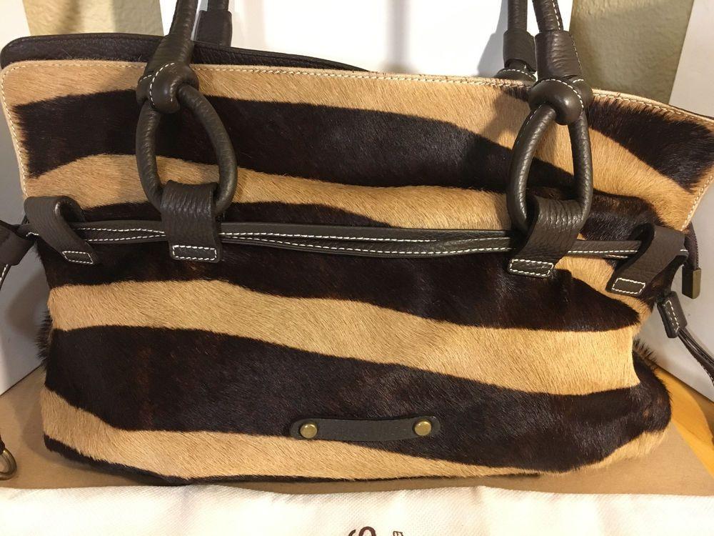 Puntotres Barcelona Genuine Leather Calf Hair Handbag Made In Spain W Dust Bag Handbagshoulderbag