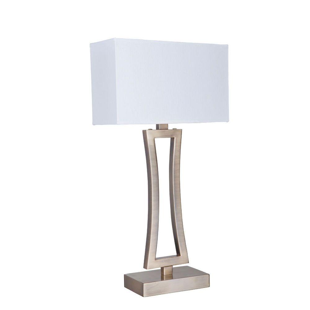 Searchlight 4081AB-1 Antique Brass Curved Rectangular Table Lamp White Shade from Dushka Ltd. London, UK.