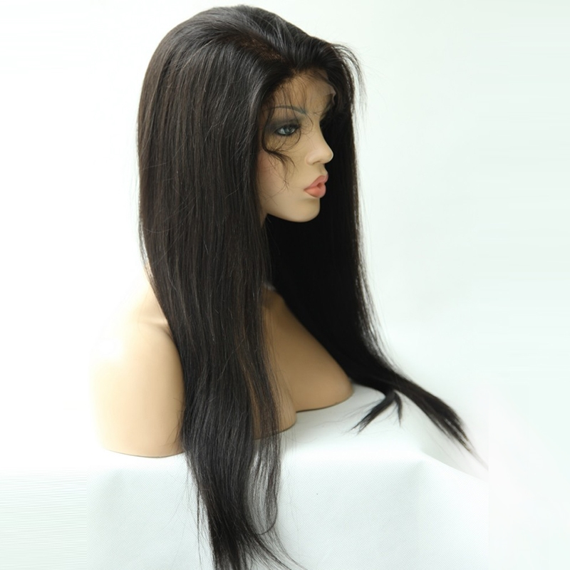 """82.34$  Watch here - http://ali6c9.worldwells.pw/go.php?t=1294893356 - """"REMY Queen Hair Front Lace Wigs YAKI Straight 1B# Off Black 8""""""""-24"""""""" Malaysian Remy Human Hair African American Wigs for Sale"""" 82.34$"""