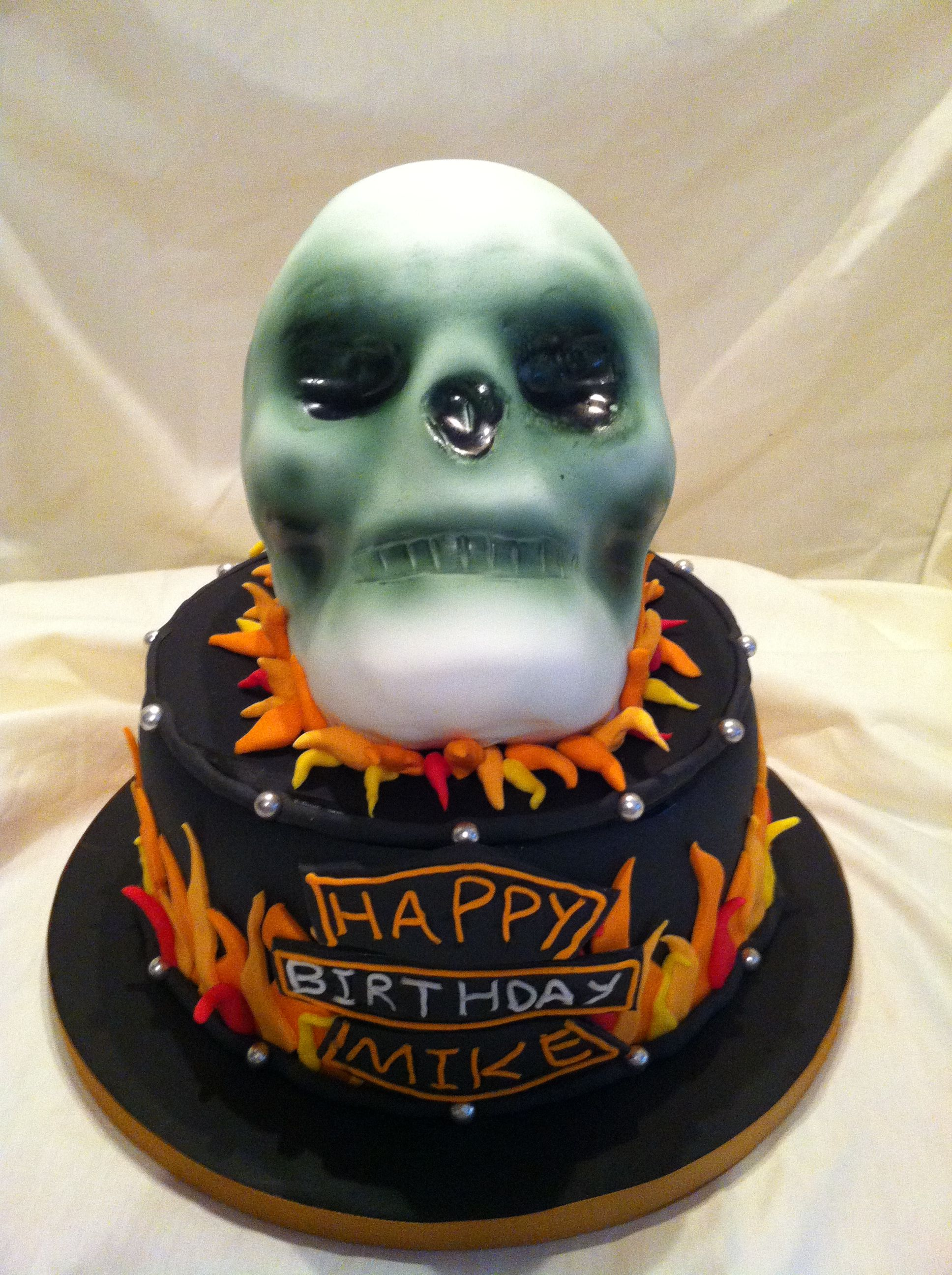 Ghost rider inspired birthday cake for a 60 year old Harley Davidson