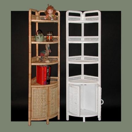 Corner Standing Wicker Shelf W/Cabinet Wicker Shelves