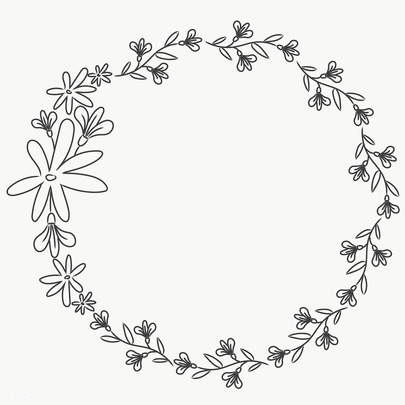 Cute Doodle Floral Wreath Transparent Png Free Image By Rawpixel Com Pimmy Floral Wreath Drawing Flower Wreath Illustration Cute Doodles