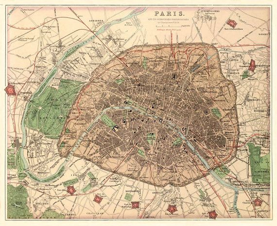 Old map of Paris Paris map Fine reproduction Paris city City