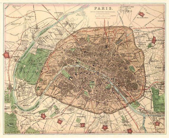 antique map antique paris city map print 16 x 20 on etsy 3000