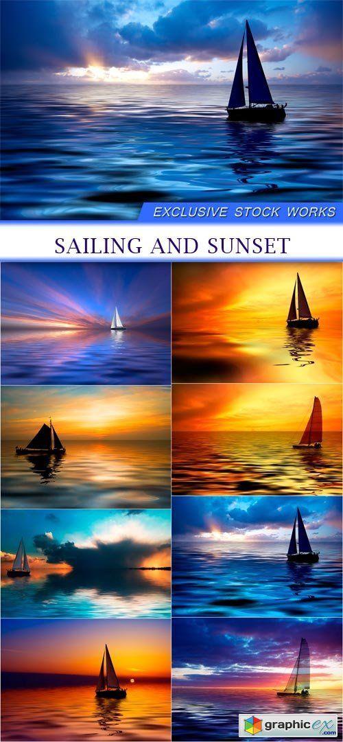 sailing and sunset 8X JPEG  stock images