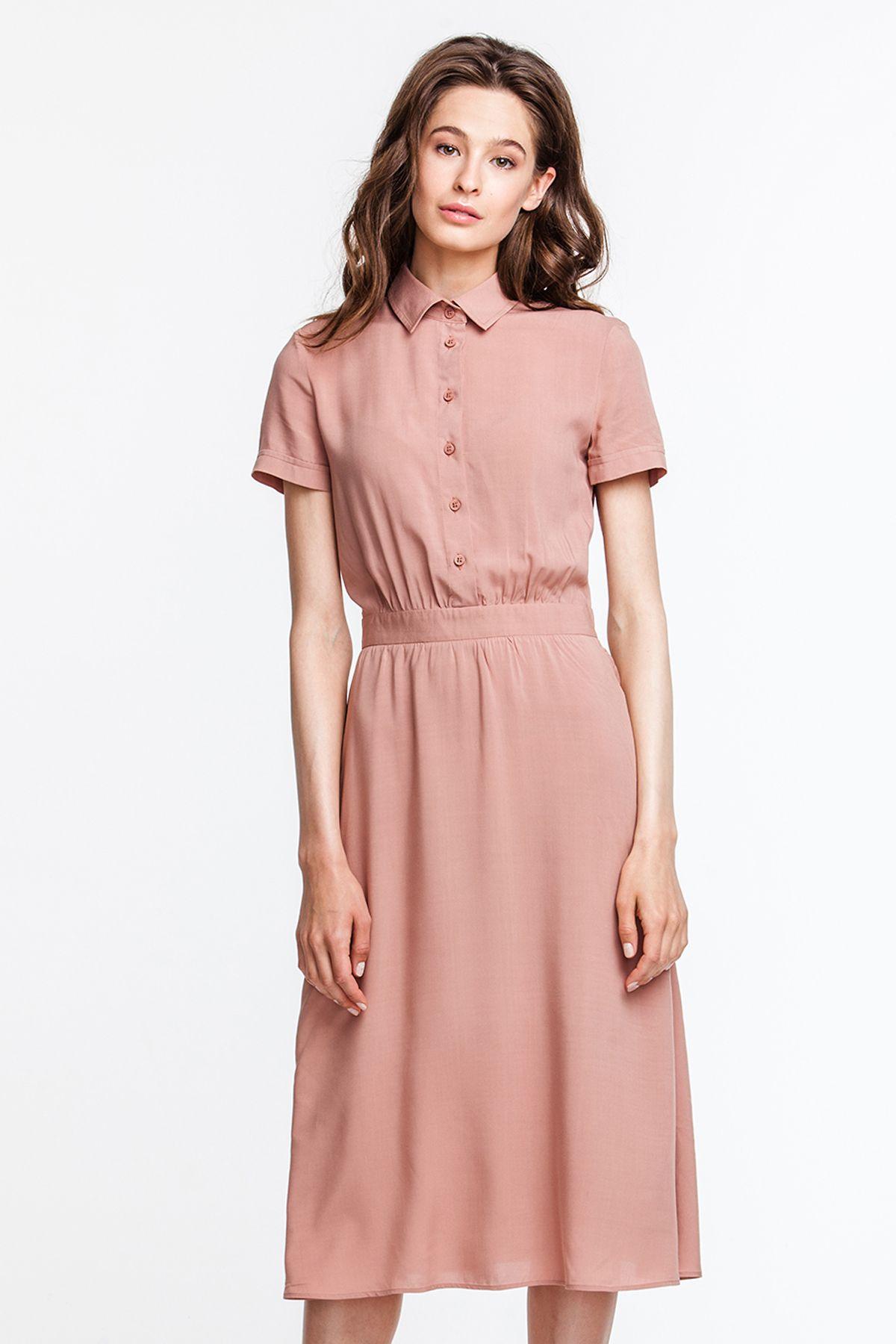 72019c9f613a 2613 Платье бежевое рубашечный верх, юбка миди купить в Украине, цена в  каталоге интернет