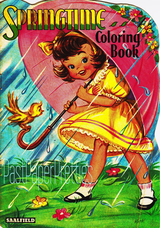 Vintage Printable Coloring Book Pages Springtime 1944 Pdf Etsy Vintage Coloring Books Coloring Books Coloring Book Pages