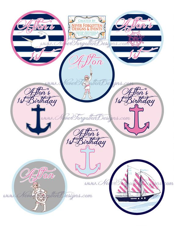 Girl Nautical Out to Sea Pirate Themed Birthday 2.5 by CoastieLife, $7.50  Looking to throw your little sailor girl a fun nautical party complete with pirates and sailboats? These personalized circles are perfect with the Sara Jane Fabric inspiration! See my other listings to find the matching invitation, cupcake toppers, edible images and more!