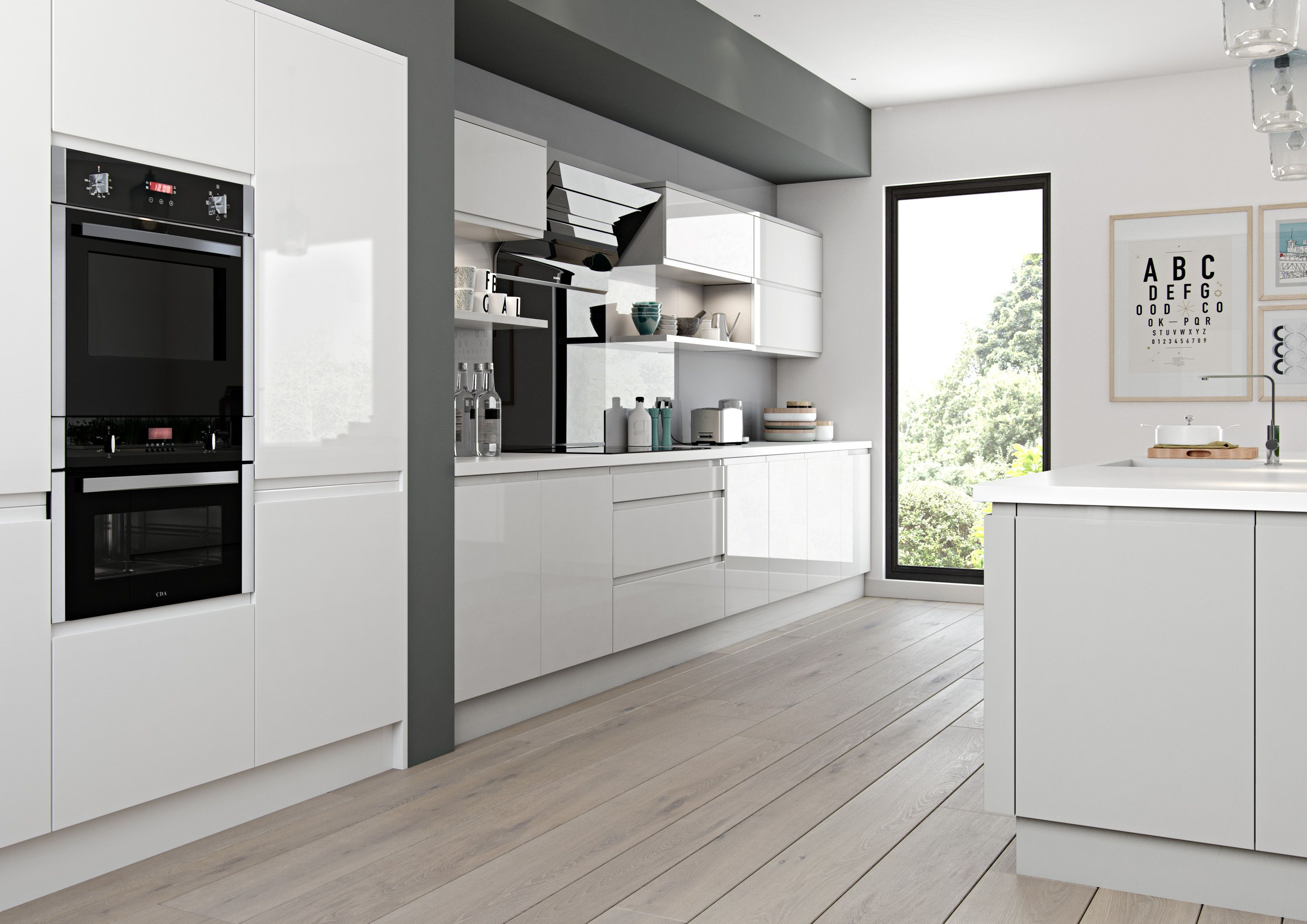 New for 2016 Luzzi Gloss Light Grey and White Painted Kitchen