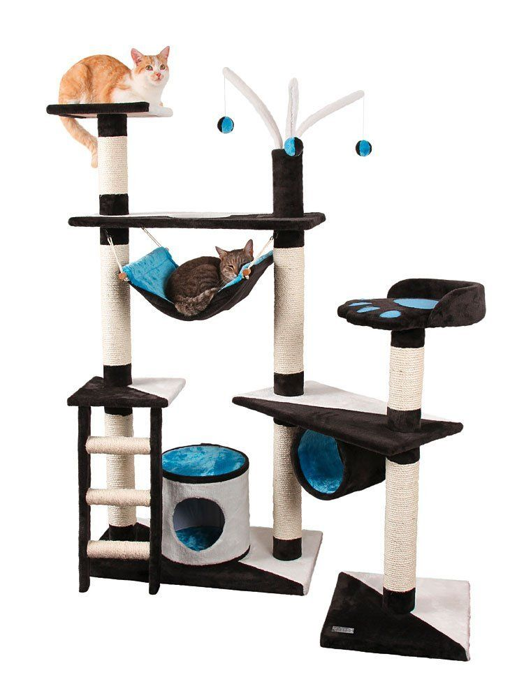 large sisal cat tree with hammock  like the  bination of blue black and white large sisal cat tree with hammock  like the  bination of blue      rh   pinterest