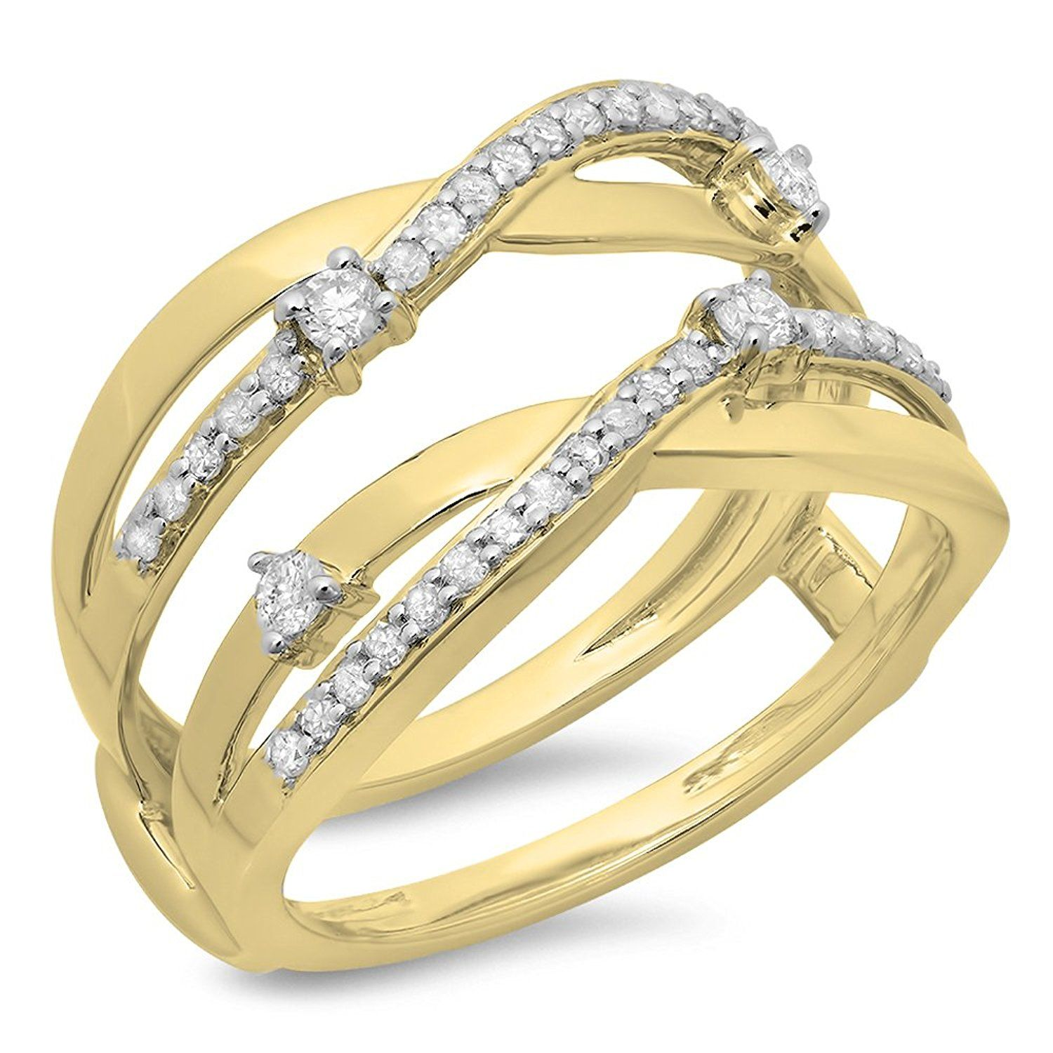 Carat Ctw Gold Round Diamond Las Anniversary Wedding Band Swirl Enhancer Guard Double Ring Check Out This Great Image Enhancers