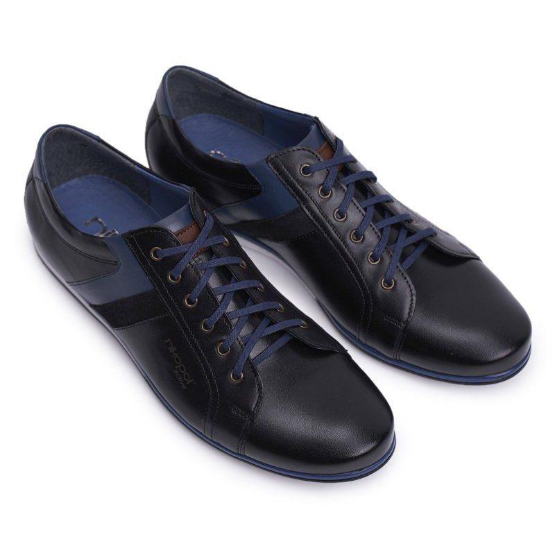 Polbuty Meskie Casual Skorzane Nikopol Czarne 1721 All Black Sneakers Black Sneaker Sneakers