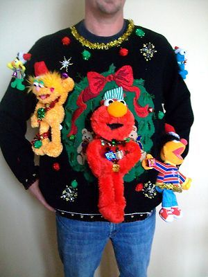 6a88090ce96 Really Ugly Christmas Sweater XXL Sesame Street Explosion Tacky 1 Prize  Winner