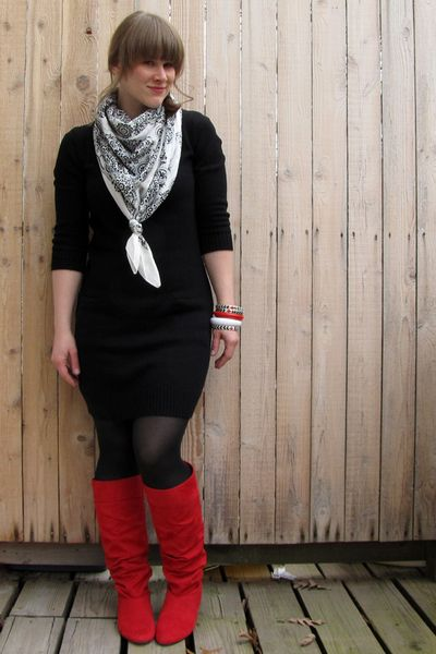 dress with red boots