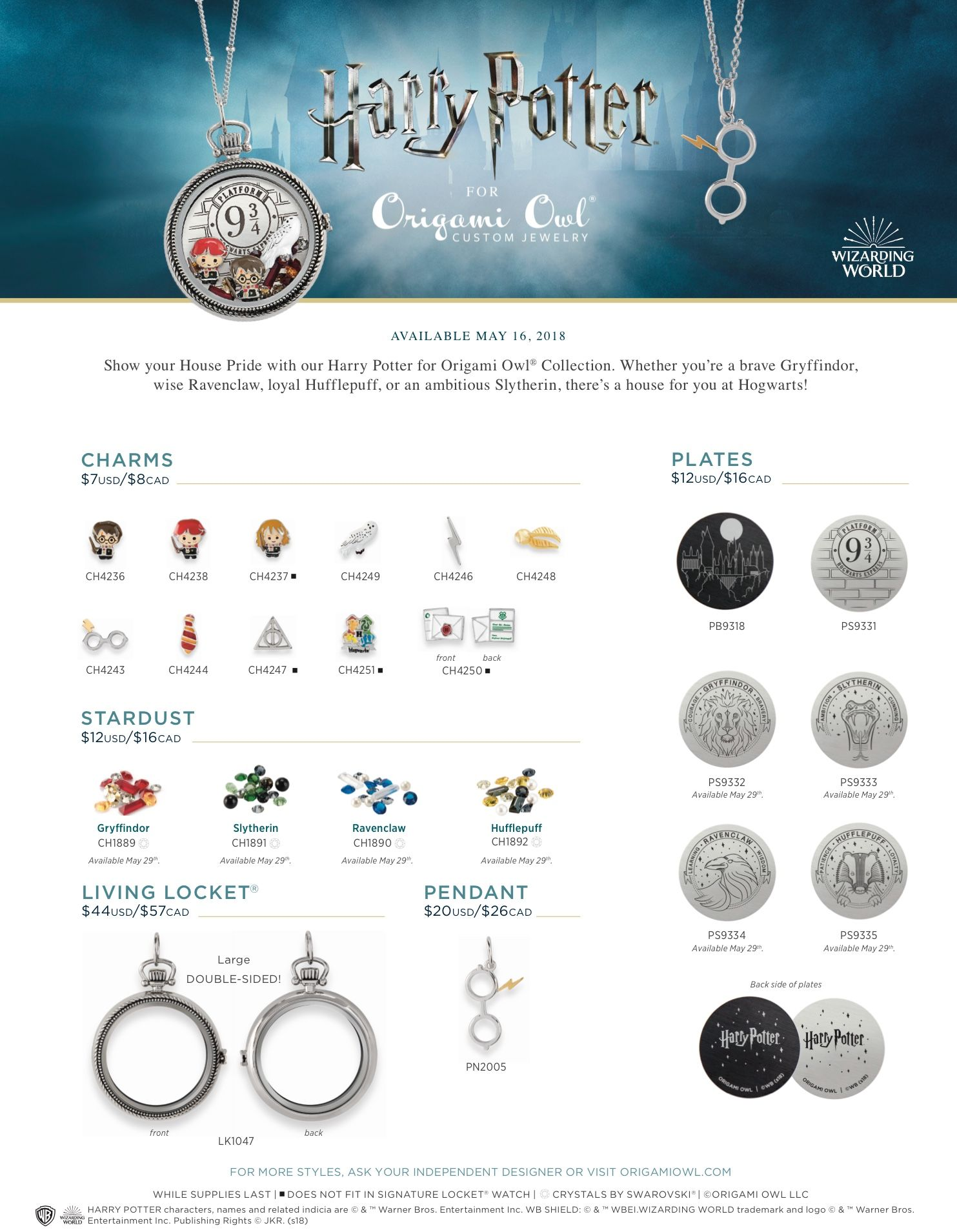 It's finally here, the Harry Potter for Origami Owl collection ...