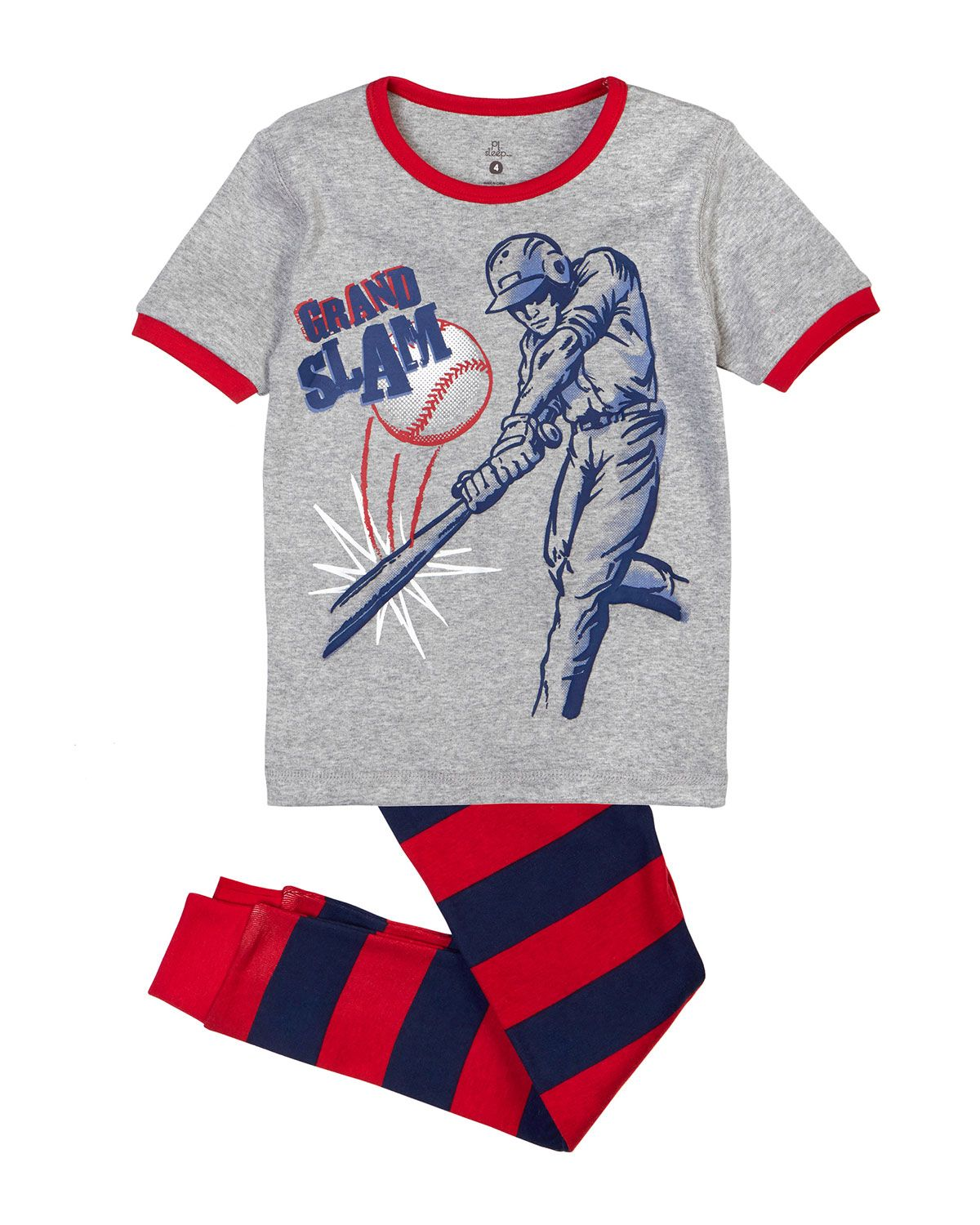 petit lem home run graphic print pajama set gray red navy size  petit lem home run graphic print pajama set gray red navy size boy s size 14