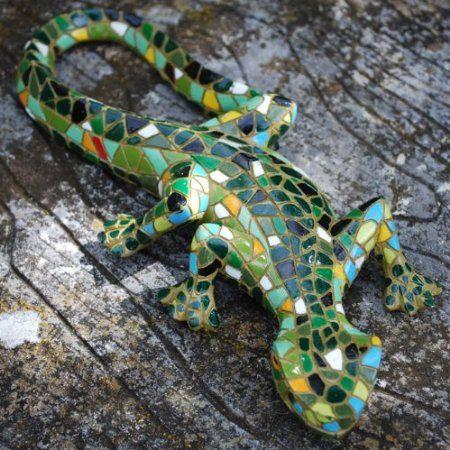 Green Mosaic Lizard Resin Garden Ornament Amazon Co Uk 400 x 300