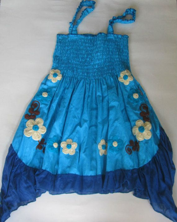 Turquoise cotton one size womans mini dress, top or skirt, handmade with embroidered flowers