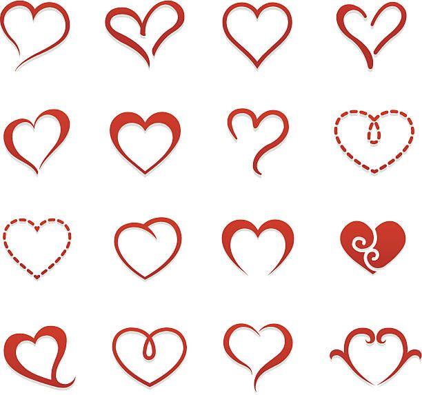 Heart valentine icon set vector illustration vector art illustration