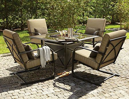 Revere Gas Firepit Set   Art Van Furniture