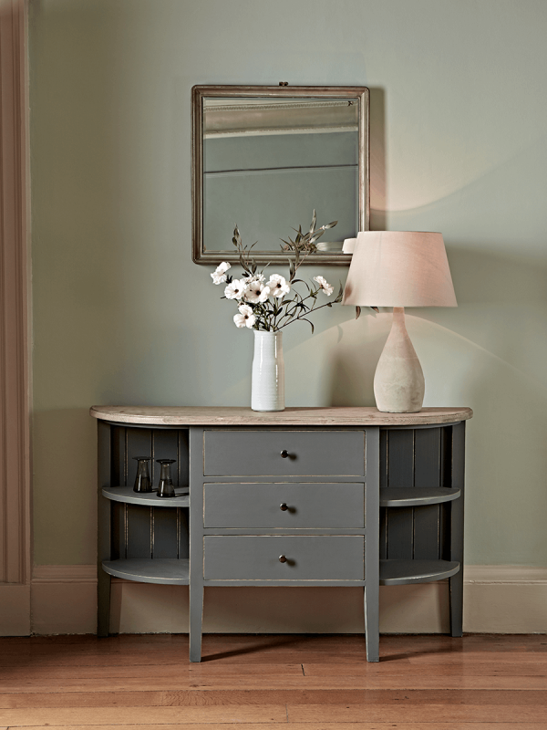 Rounded Storage Console Table In 2020 Console Table Hallway
