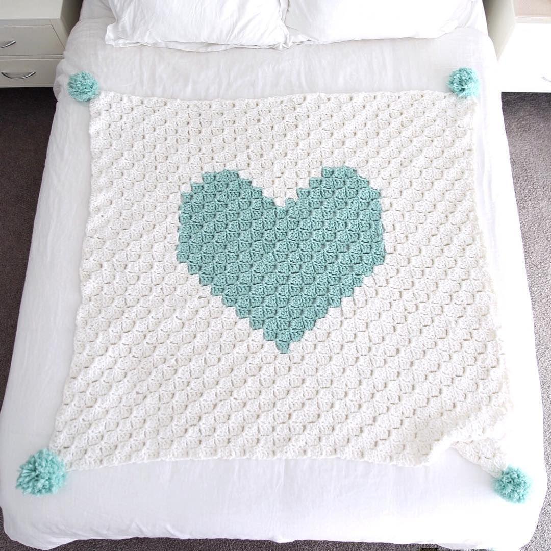 C2C heart rug blanket - free chart graph | Crochet | Pinterest ...