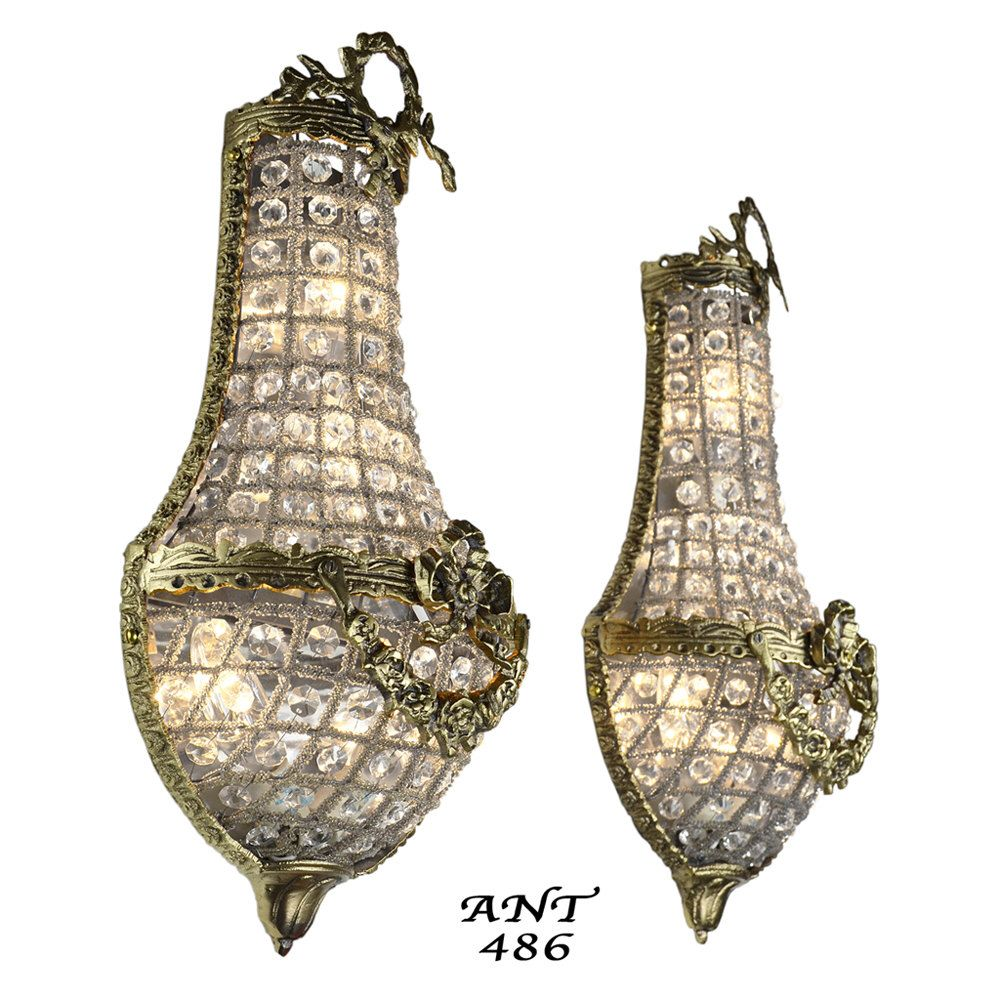 Antique French Basket Style Crystal Wall Sconce Lights Pair Ant 486 By