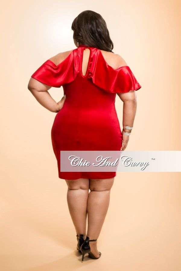 New Plus Size Bodycon Dress With Open Shoulder And Ruffle Dark Red